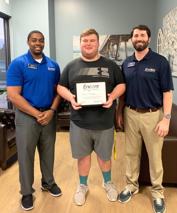 Justin Ficarra is Athlete of the Month for #EncoreRehab Opelika #weLOVEtoseeyoumove