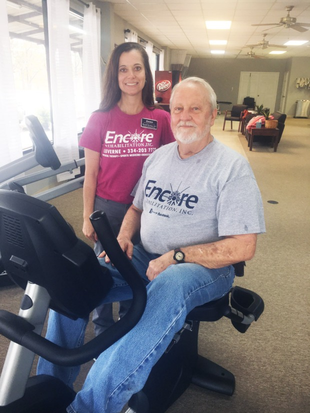 Patient David Coggins with #EncoreRehab Clinic Director and Physical Therapist Brandi Norman