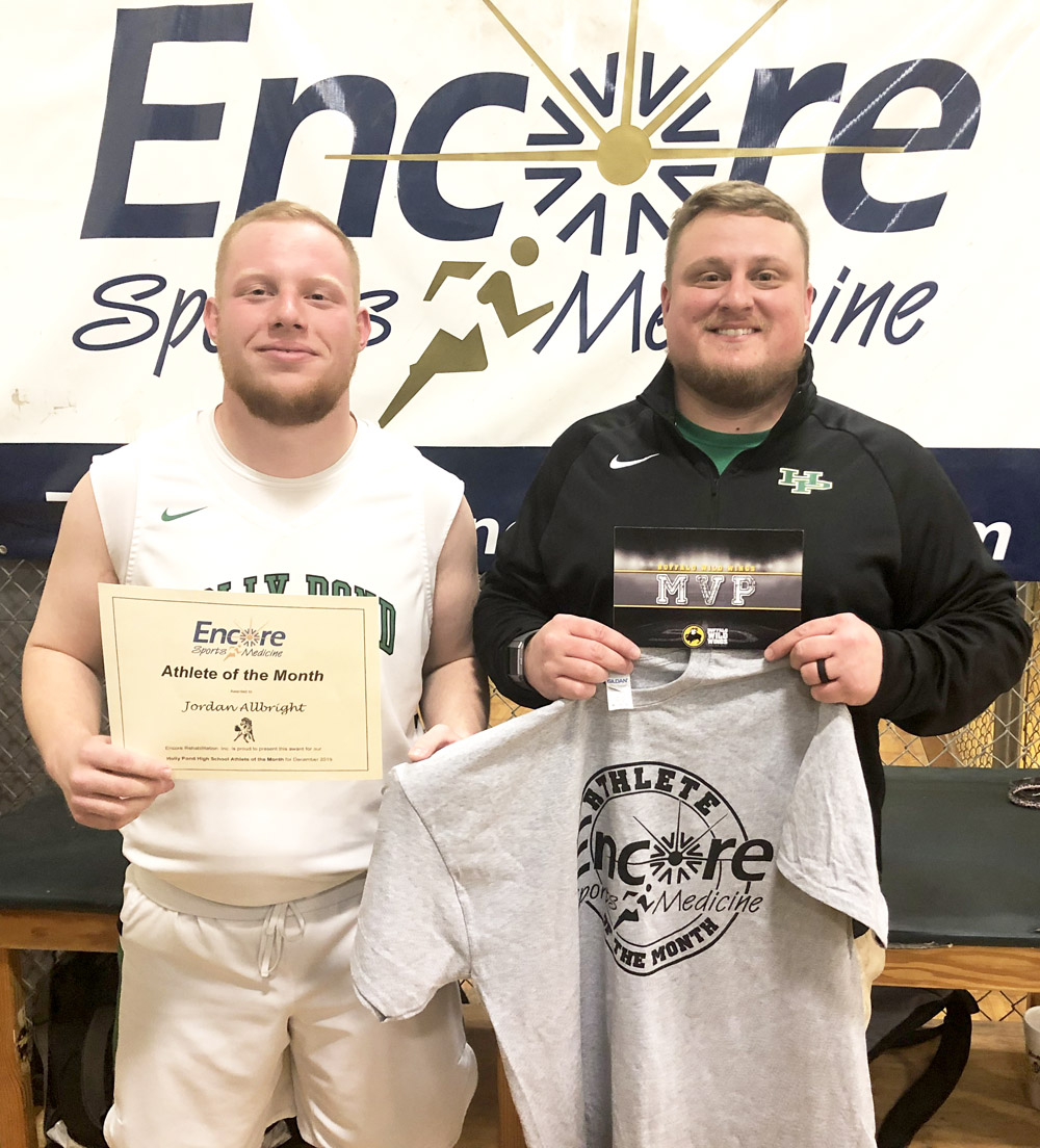 Athlete of the Month Jordan Allbright with #EncoreSportsMedicine Athletic Trainer Gage Brewer