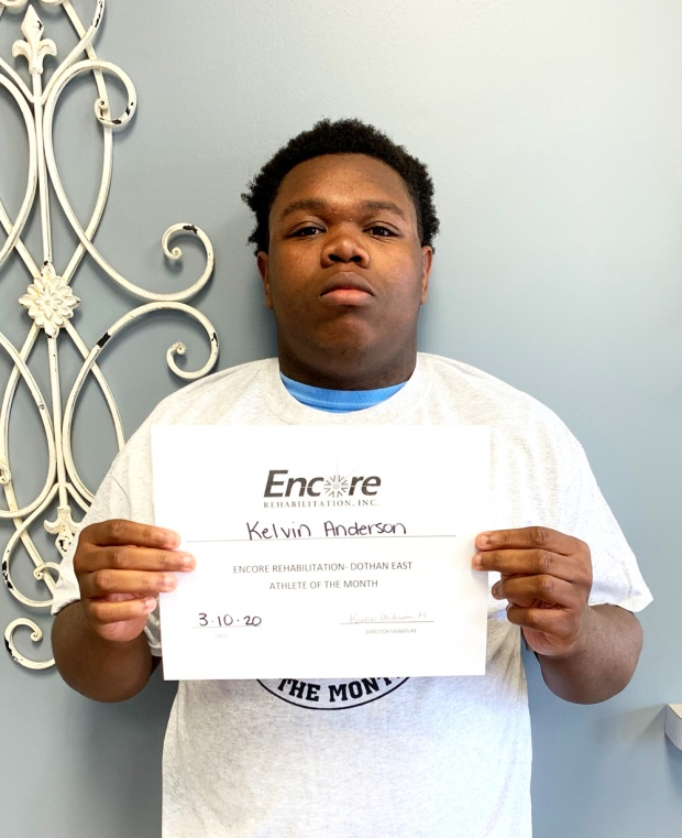 Kelvin Dwayne Anderson, Jr. is Athlete of the Month for #EncoreRehab Dothan East