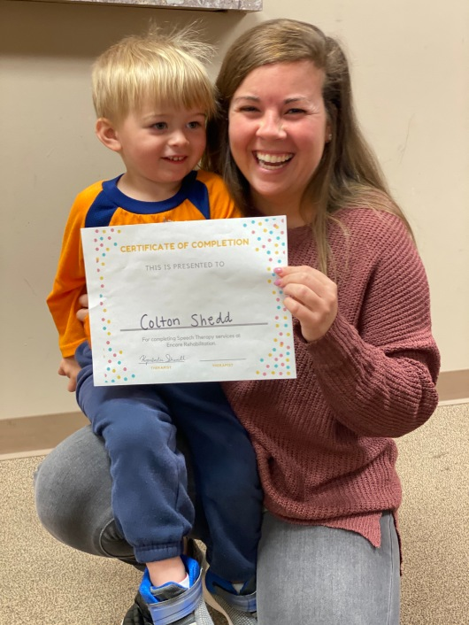 Colton graduates Speech Therapy at #EncoreRehab Cullman Pediatric Rehab