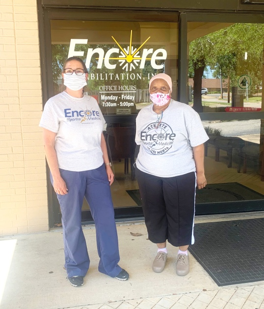 #EncoreRehab Enterprise Patient of the Month Roma Jackson is shown here with Physical Therapist Assistant Holiday Rigdon.