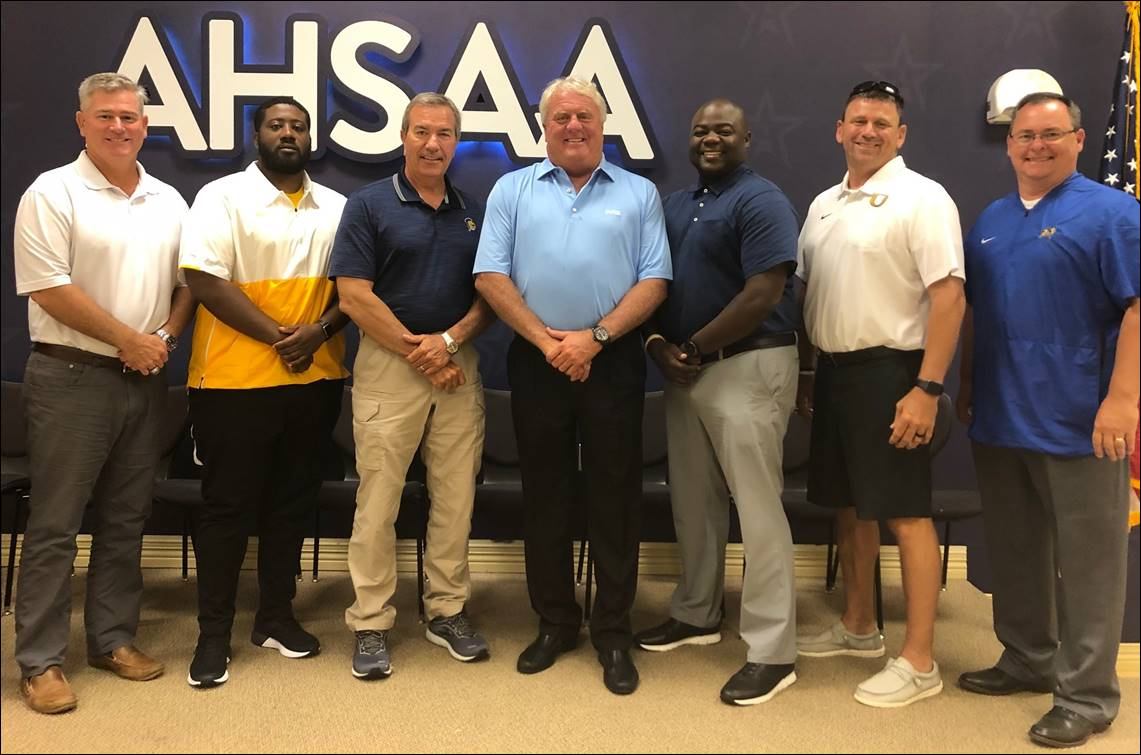 Alabama 2020 All-Star Football Coaching Staff poses for a photo at the AHSAA Headquarters