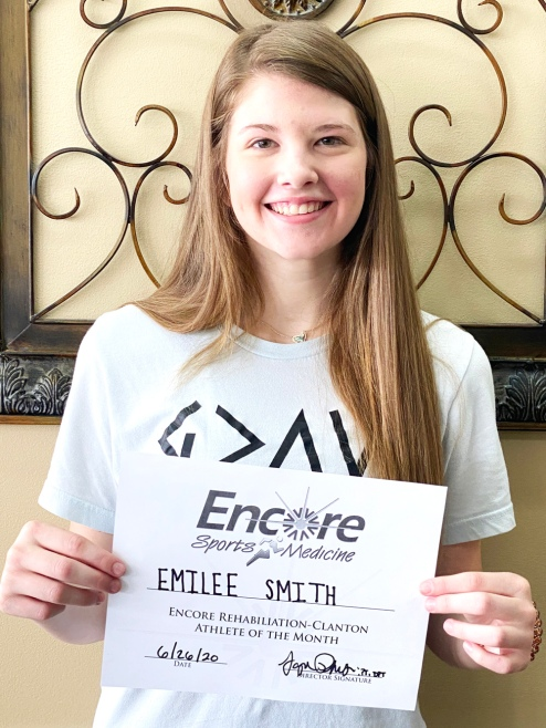 Emilee Smith is Athlete of the Month for Encore Rehabilitation- Clanton #weLOVEtoseeyoumove