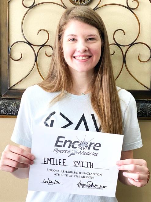 Emilee Smith is Athlete of the Month for Encore Rehabilitation- Clanton #weLOVEtoseeyoumove