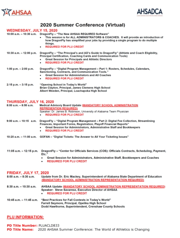 2020 Summer Conference Schedule