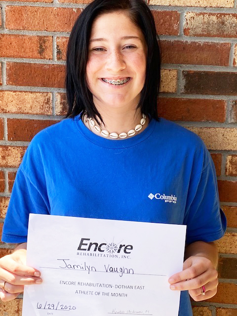 Jamilyn Vaughn is Athlete of the Month for Encore Rehabilitation-Dothan East