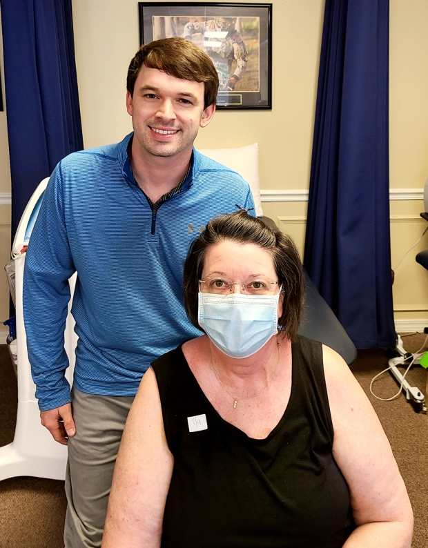 Patient Ranell Oberlies is with #EncoreRehab Biloxi Physical Therapist Zach Moorer