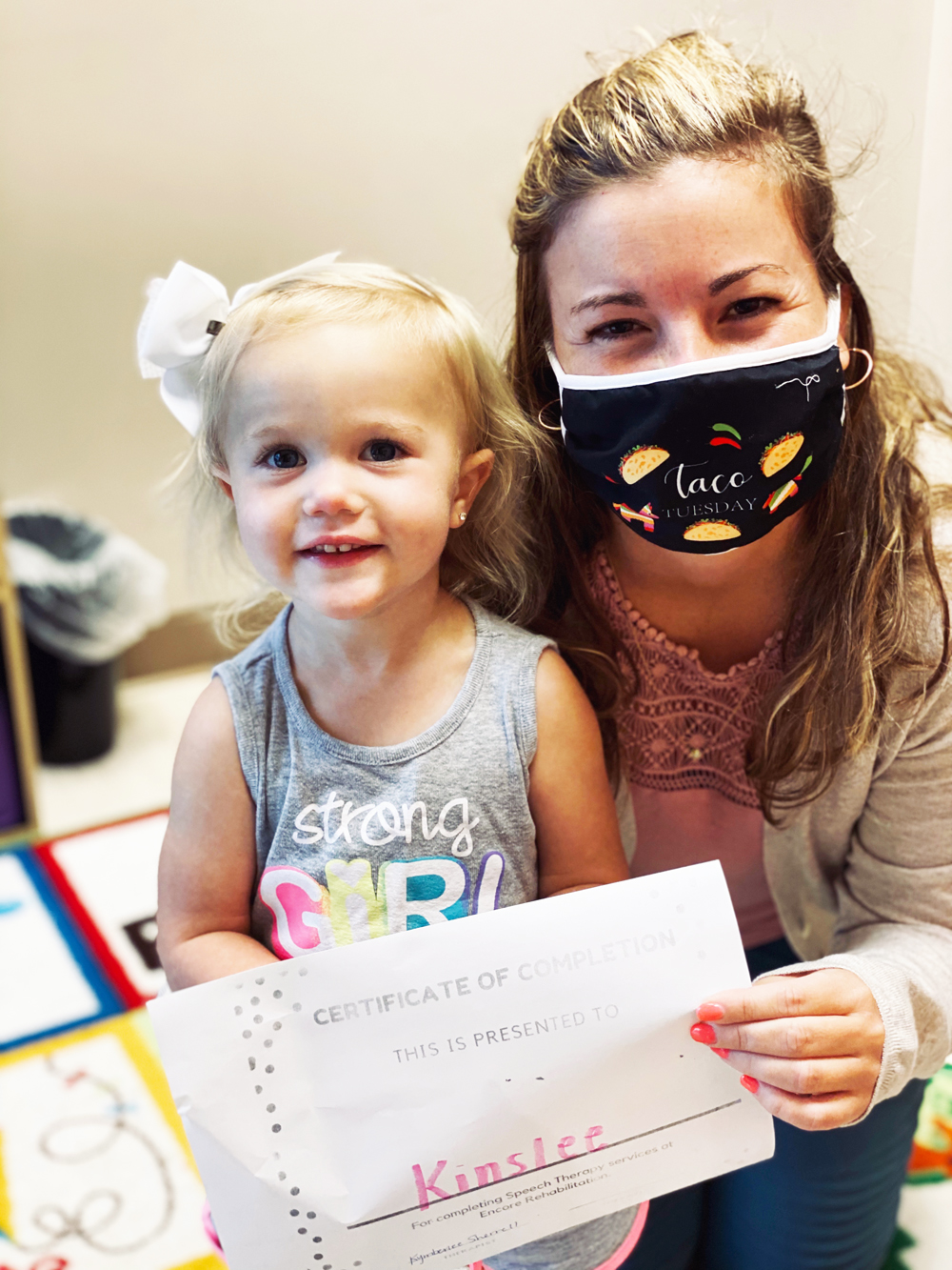 Kinslee with Encore Rehabilitation-Cullman Pediatric Speech Therapist Kymberlee Sherrell