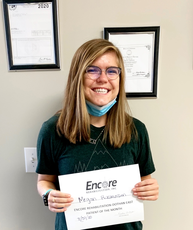 Megan Rasmussen is Physical Therapy Patient of the Month for #EncoreRehab Dothan East