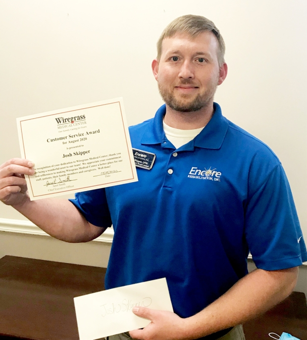 #EncoreRehab Physical Therapist Assistant Josh Skipper was awarded the Wiregrass Medical Center's Customer Serice
