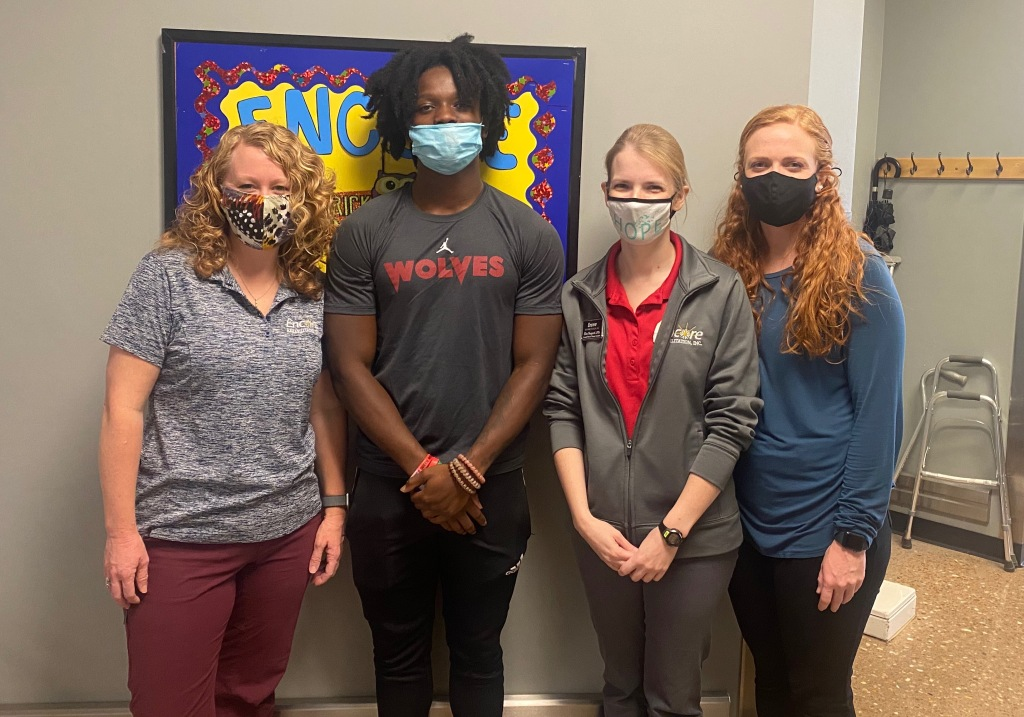 Athlete of the Month Jaylin White with the #EncoreRehab Dothan Staff