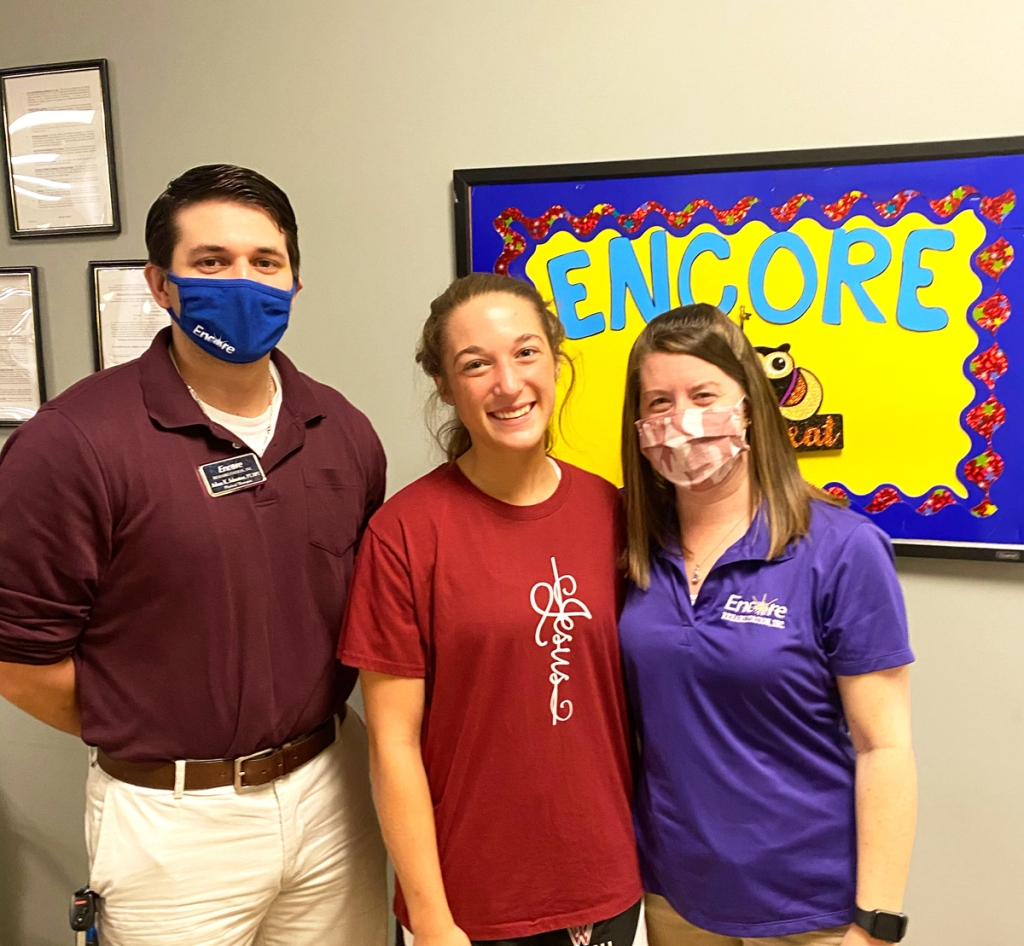 Athlete of the Month Abby Perkins with the staff of Encore Rehabilitation-Dothan