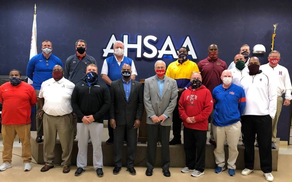 2020 AHSAA Super 7 Head Football Coaches pose for a photo